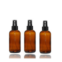 4 oz Glass Boston Round Bottles Essential Oil Linen Spray Perfume Fine Mist Sprayers with Plastic RIBBED Caps Diy Bath Body
