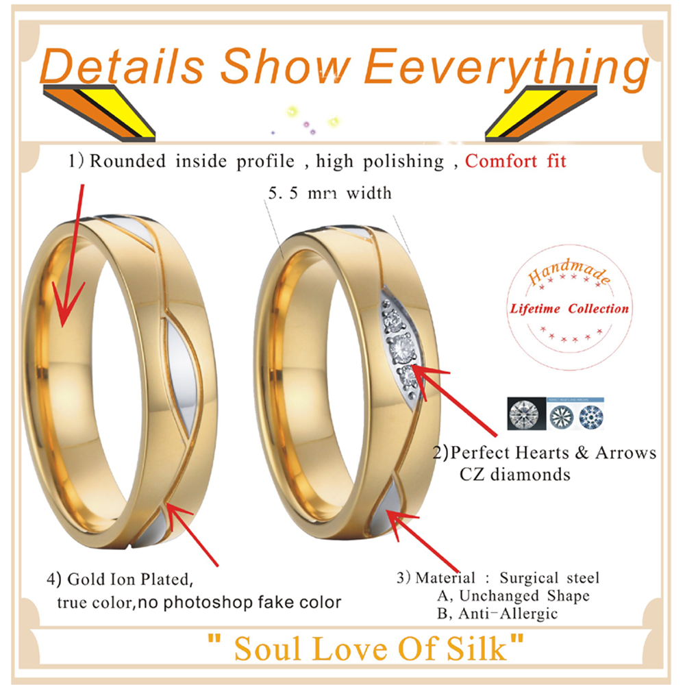 Wedding Band Engagement Rings for Women and men jewelry Gold color