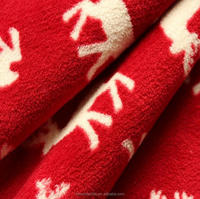 Polyester elk printing coral fleece fabric for home textile