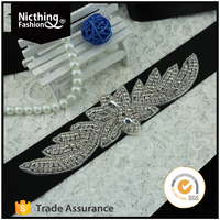 Decorative hair embellishment jewelry rhinestone applique diamond appliques for wedding dress NRA085