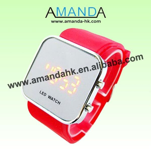 2013 Promotion Hot Sale Led Digital Sport Watches,Mirror Face Silicone Watch,Good Service And Good Quality.