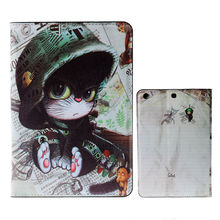 Cute Little Cat PU leather Luxury Cartoon Flip Original Smart Case cover for ipad mini2 With Stand design