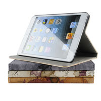 World Maps design PU leather stand case for Apple new ipad mini