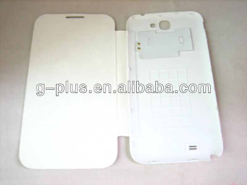 White Leather Flip Cover Carrying Case Pouch for Samsung Galaxy Note II 2 GT-N7100 N7100