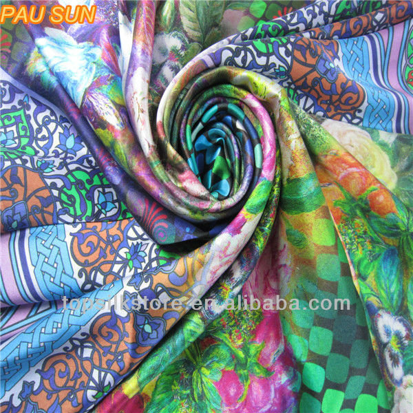 Fashion new design silk scarf jet printed silk square scarf wholesale