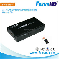 SHENZHEN SHUNXUN HDMI switch 3 in 1 out support 3D without power supply