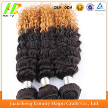 Wholesale omber color mongolian kinky curly hair, High quality 100% human hair weave