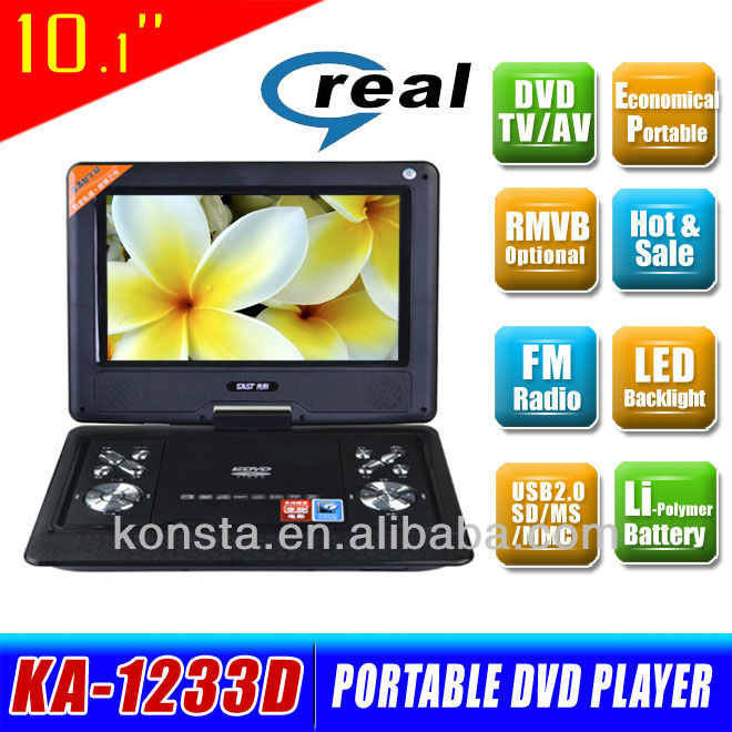Home 10 inch cheap HD Portable DVD Player with tft screen united TV FM USB SD Game KA-1233D