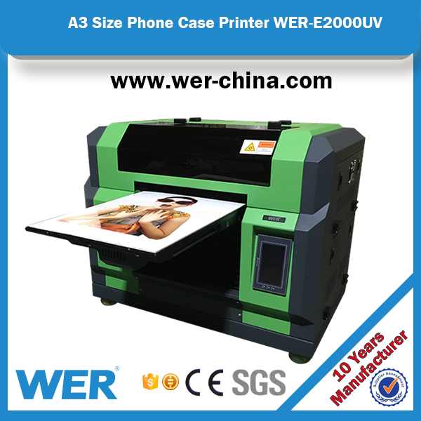 multifunctional WER-E2000 a3 uv printing machine ink jet printer for glass, ceramic,pvc,metal, plastic etc