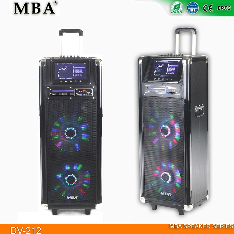 "LCD screen & MP5 & CD/DVD player speaker double 12"" Portable trolley Hot Sale Speaker With"