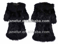 Fox fur long white coat with mongolia collar Italian 2014-2015 newest fashion