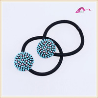 Colorful Round Crystal Flower Elastic Hair Bands For Party Accessories