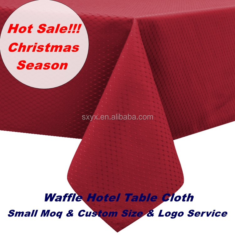 Hotel Quality Decorative Polyester TableCloth waffle Fabric Christmas Table Linen waterproof Rectangle Table Cover 60x84in wine