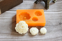 3-Rose Flower Shaped Custom-Made Silicone Hot Cake Mold, Silicon Cake Mold