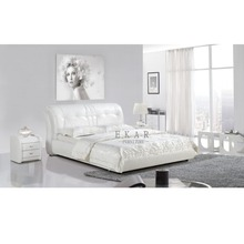 Italian Style King Size Soft White Leather Double Bed Designs