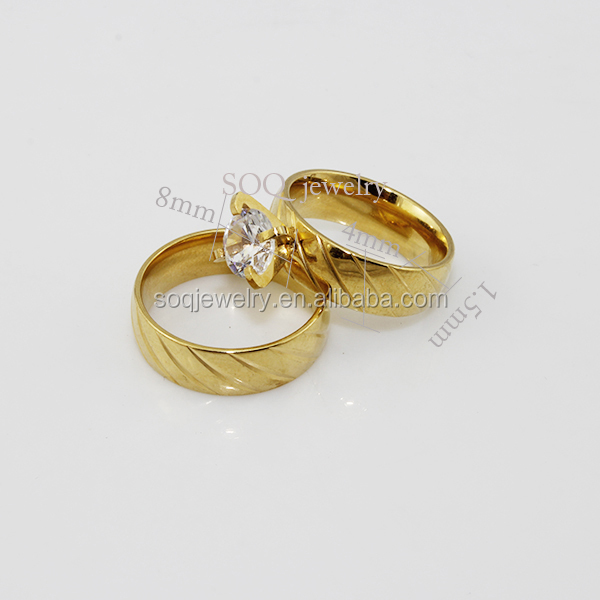 New Fashion Stainless Steel CZ 18k Gold Wedding Ring for Couple Jewelry