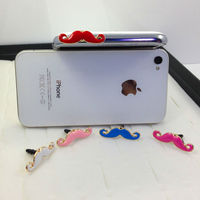 Cartoon Mustache 3.5mm Dust Earphone Ear Cap Anti Jack Plug for iPhone Cellphone