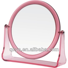Simple red round acrylic mirror with frame