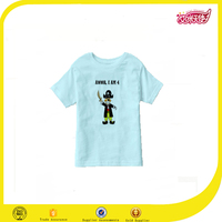 2016 new design of light blue kids wear made in china 100% cotton fabric fancy kids t-shirt tee shirts kids