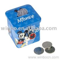 Square cartoon kids gift tin coin box with lock money bank