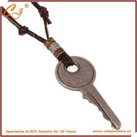 Leather necklace personality big key Europe and the United States foreign trade jewelry wholesale Vintage leather necklace