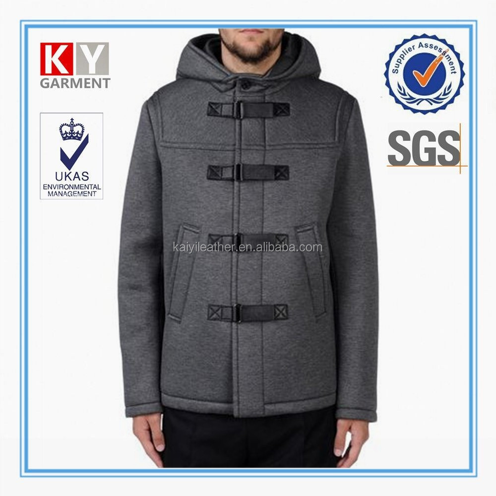 2015 OEM grey hoody new fabric neoprene men custom college jacket