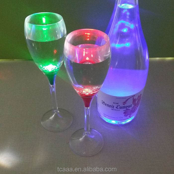 Wholesale OEM liquid activated led light champagne glass