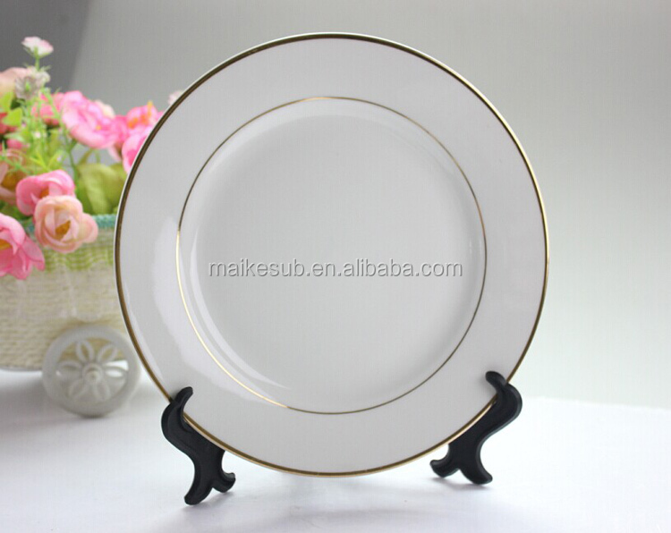 sublimation porcelain plate with gold rim made in China