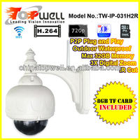 H264 720P IR-CUT P2P Plug and Play 8G SD CARD Supported 3X Digital Zoom Outdoor Waterproof Dome IP Camera