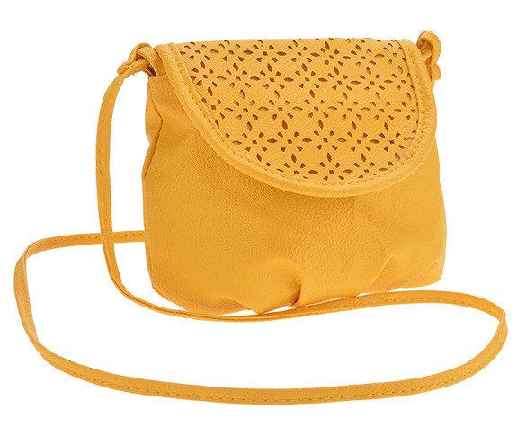 C67223A Sweety yellow hollow out oblique satchel bag for ladies