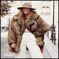 European style winter brown designer brand name fur winter coat