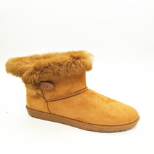 New Arrival Winter Female Lady Brown Cow Suede Short Boot Low Heel Buckle Feather Fur Ankle Boots