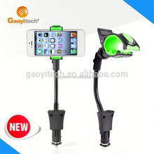 Dual Usb Port Car Charger new design dual usb charger with holder function supporting 3.5 to 5.3 inch mobile phones