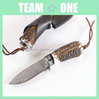 100% Custom Handcraft Knife Damascus Steel Mini Fixed Blade B/W Horn