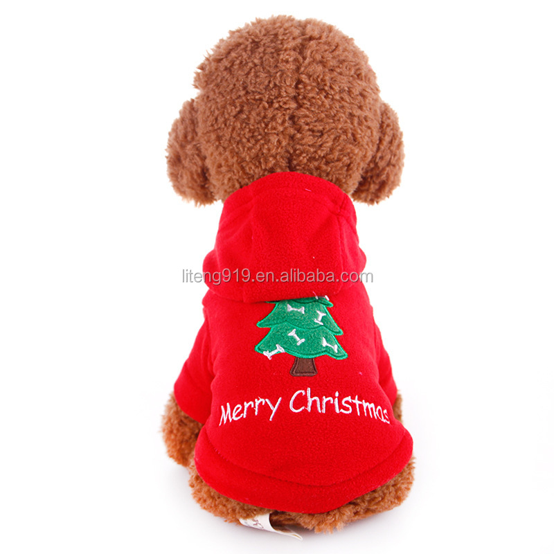Small Dog Hoodie Xmas Christmas Red Clothes Pet Apparel For Winter P007