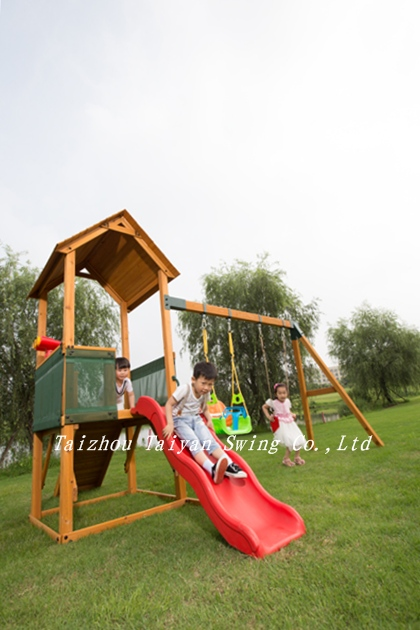 Garden Wooden Play Centre with Slide