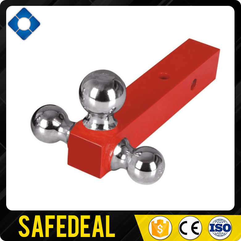 Red Powder coated Triple Trailer Hitch Ball Mount