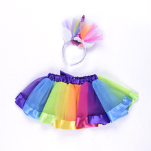 Multicolor Rainbow Color Girls Pettiskirts 공주 튈 Girls 투투 Skirt 와 유니콘 머리띠
