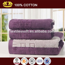 100% cotton yarn dyed purple color thicken velour soft luxury bath towel