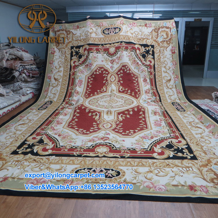 100% Wool hot design hand made customized french aubusson carpet