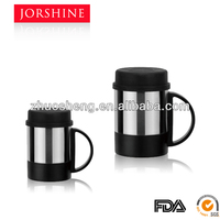 Double wall stainless steel coffee mug with lid and handle