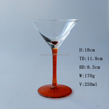Handblown customized Red solid color stem wholesale martini glass vases centerpieces