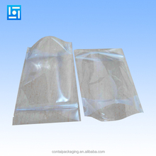 Stand translucent aluminium ziplock bag - Front clear reclosable metallic aluminum mylar plastic pouch zipper seal