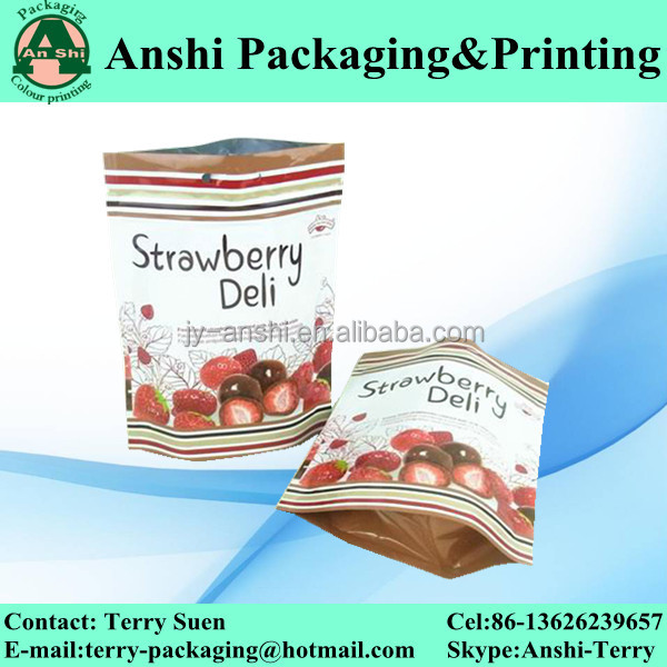 Stand up aluminum strawberry bag with moisture proof