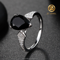 lucky black stone finger ring rhodium silver rings jewellery