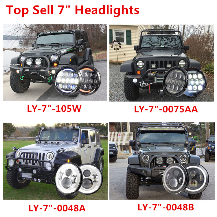 Daymaker Projector 7 Inch Round Halo Lights H4 LED Headlight For Jeep Compass Lamp