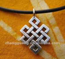 Tibetan Eternal Knot Charm Pendant Necklace
