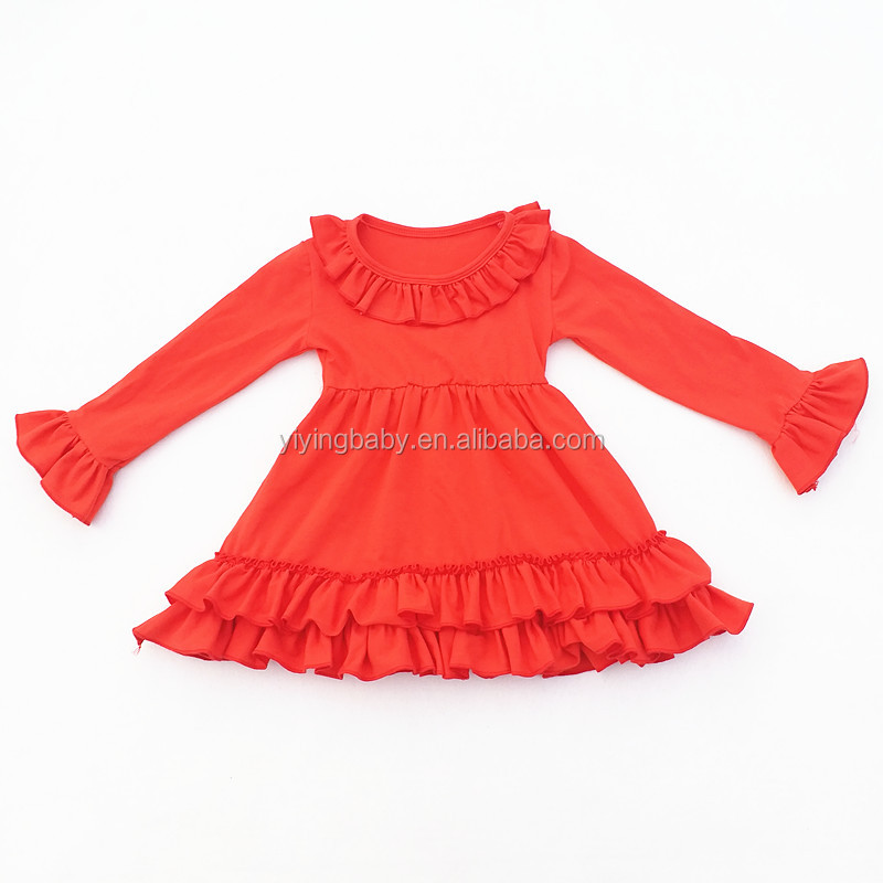 Wholesale autumn winter dress for baby girl floral print colorful soft cotton party boutique dress