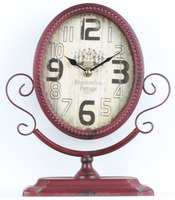 ANTIQUE RED OVAL TABLE TOP DECORATIVE METAL CLOCK