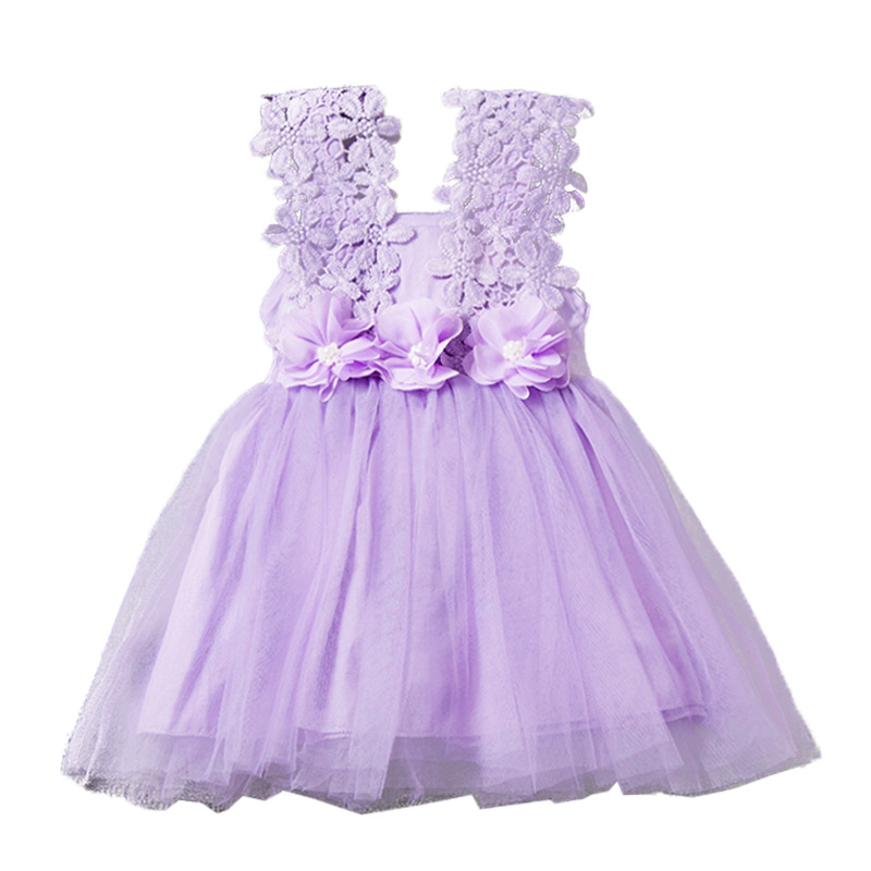 Baby girls flower lace sleeveless dress kids party princess dresses
